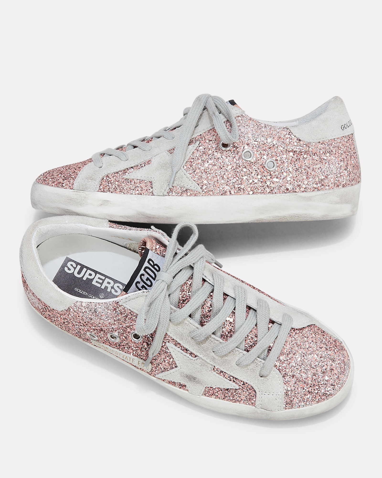 Superstar Rose Gold Glitter Sneakers, GOLD, hi-res