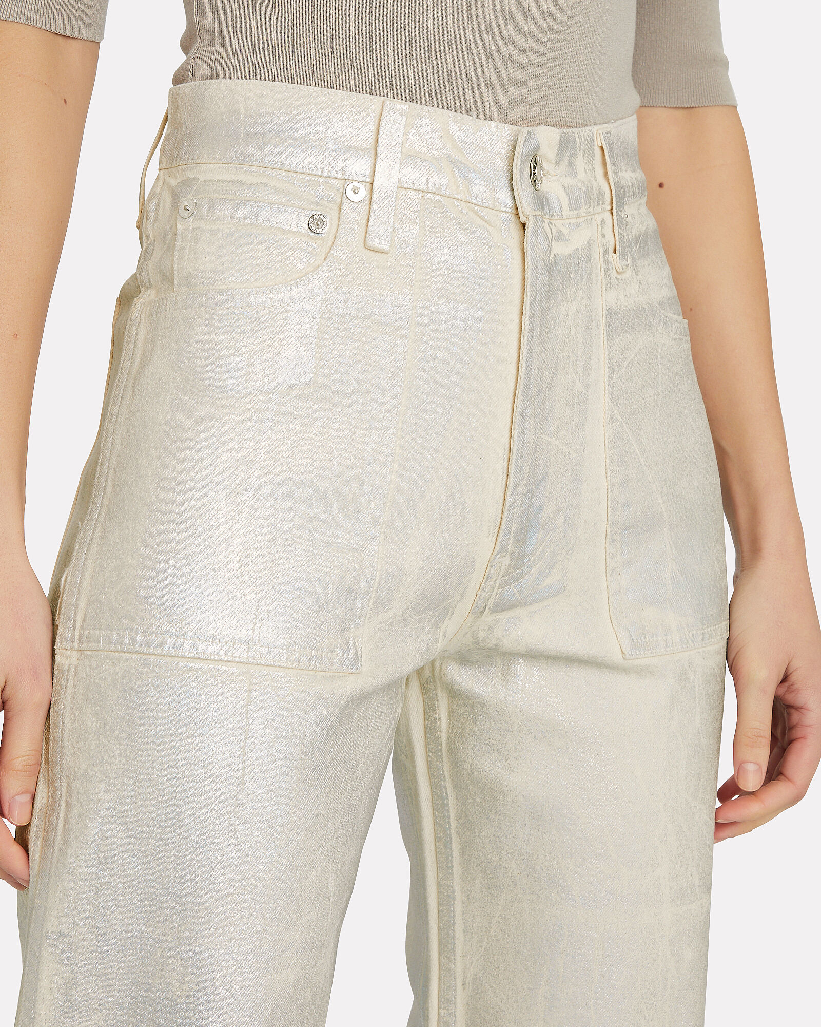 Factory Lacquered High-Rise Jeans, SILVER, hi-res