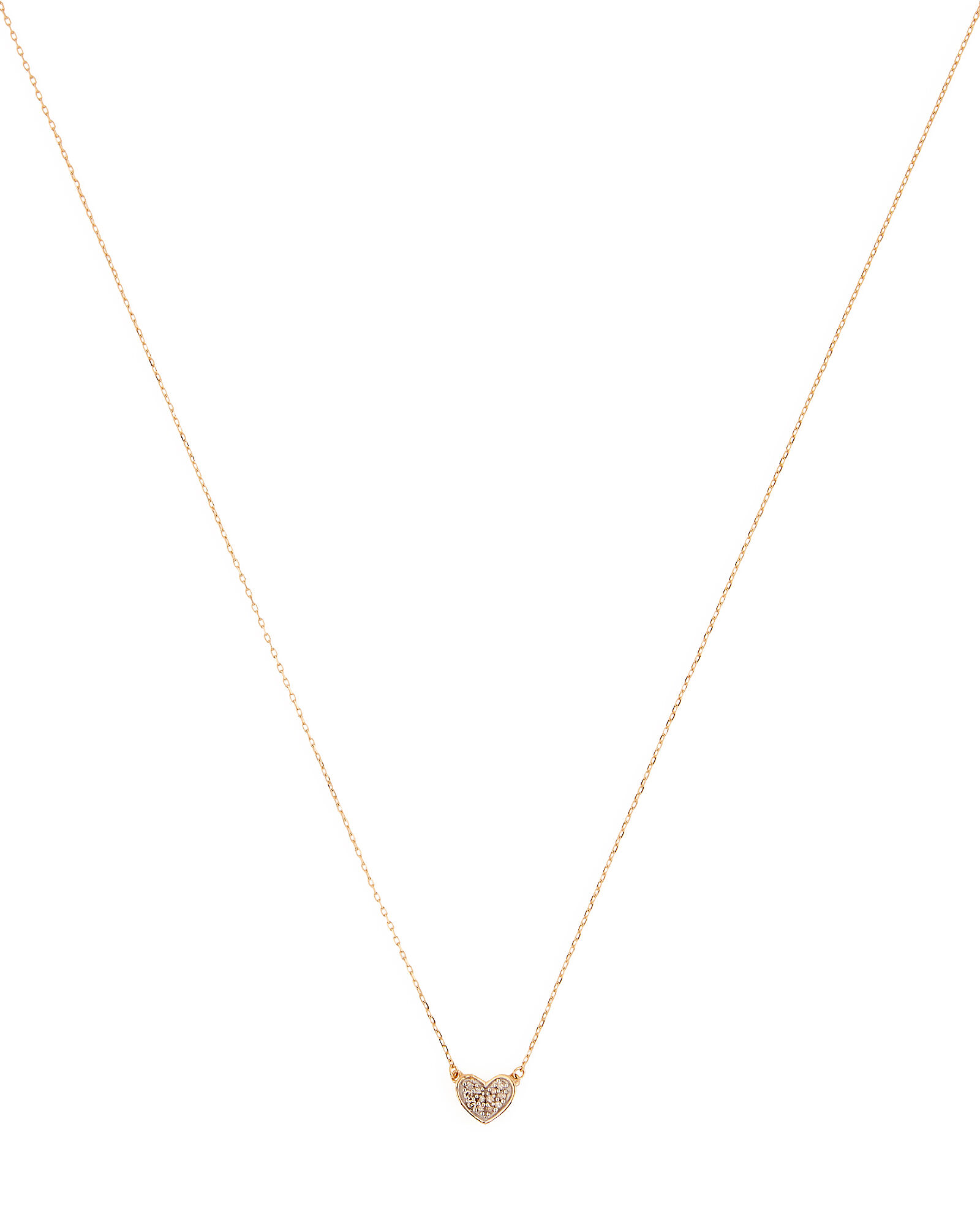 Pavé Folded Heart Pendant Necklace, GOLD, hi-res