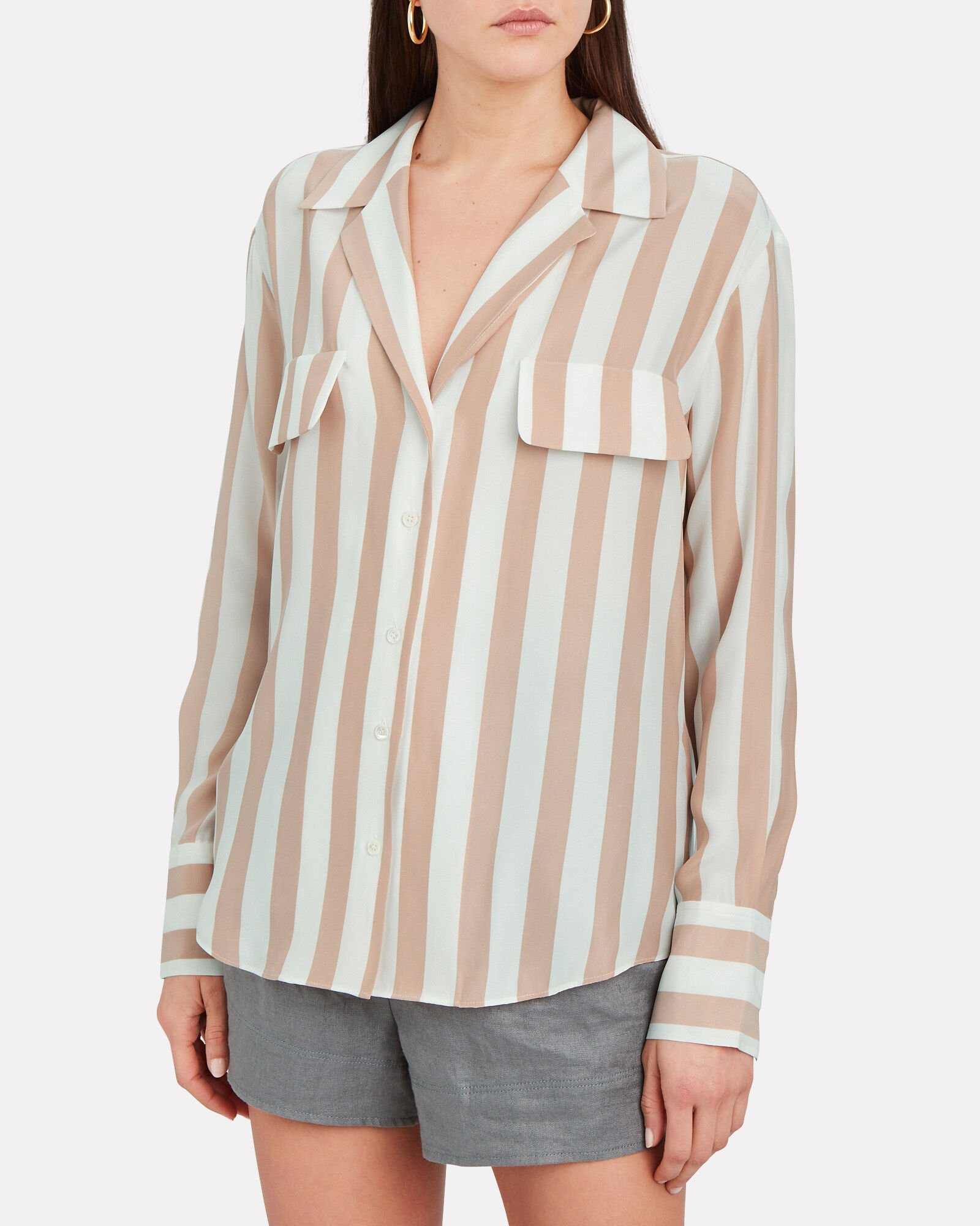 Striped Silk Button Down Blouse, MULTI, hi-res