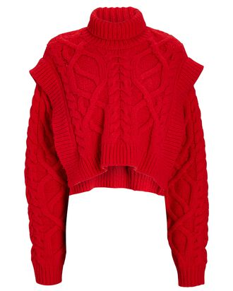 Bonnie Cable Knit Turtleneck Sweater, RED, hi-res