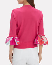 Ruffle Sleeve Pink Top, PINK, hi-res