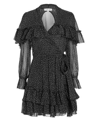 Martina Ruffle Wrap Dress, BLACK/WHITE/POLKA DOTS, hi-res