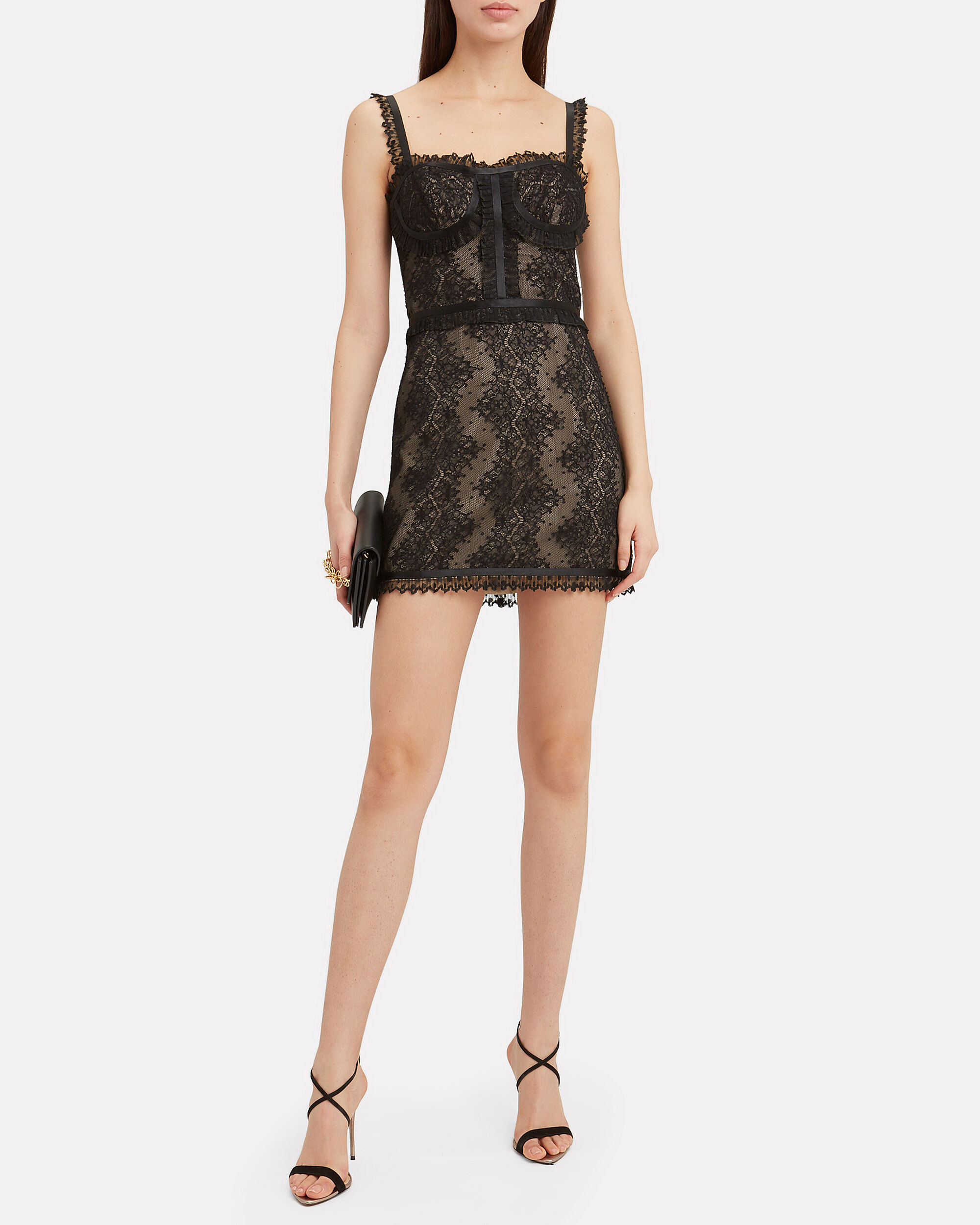 Kelsi Lace Mini Dress, BLACK, hi-res