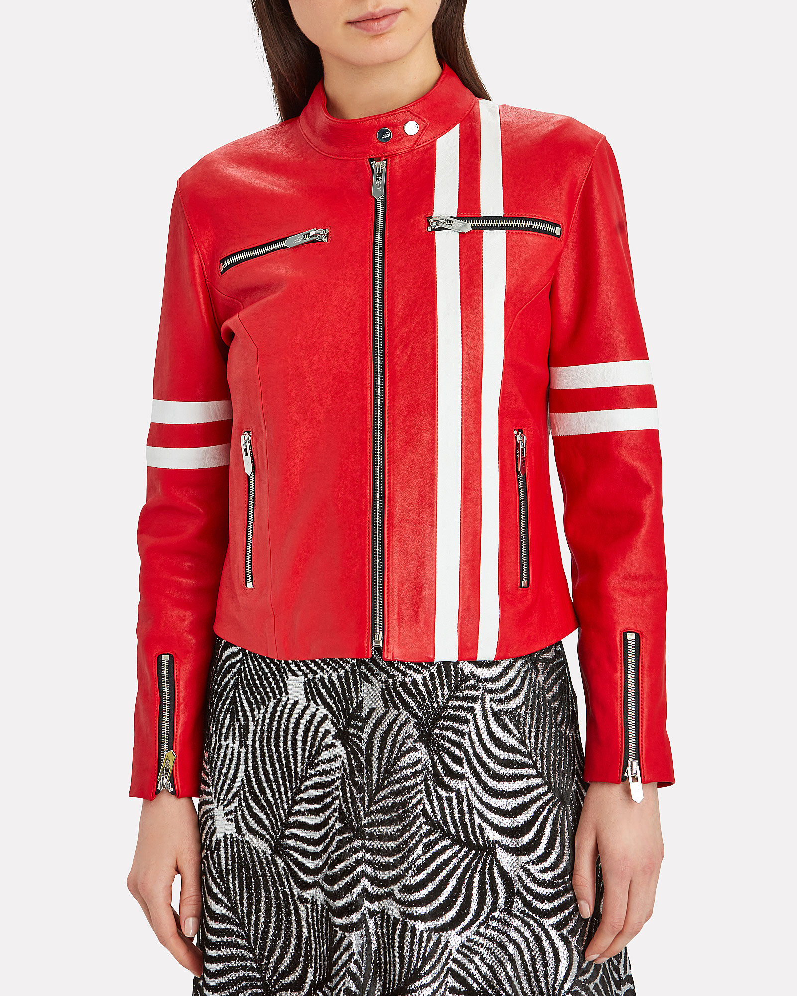 The Ferrara Striped Leather Jacket, RED, hi-res