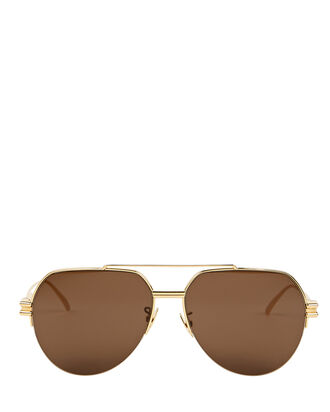 Oversized Pilot Sunglasses, GOLD, hi-res