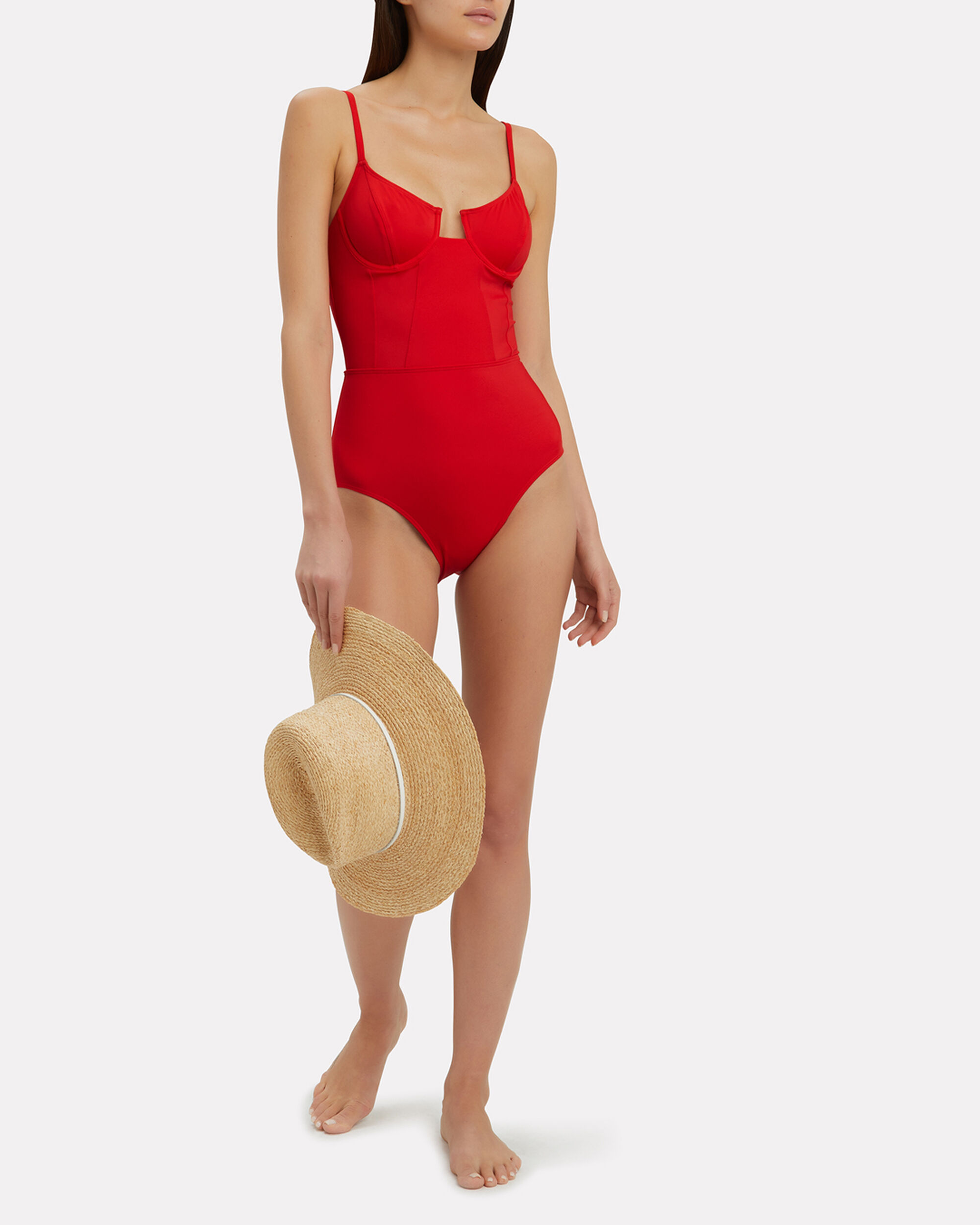 Hollywood One Piece Swimsuit, RED, hi-res