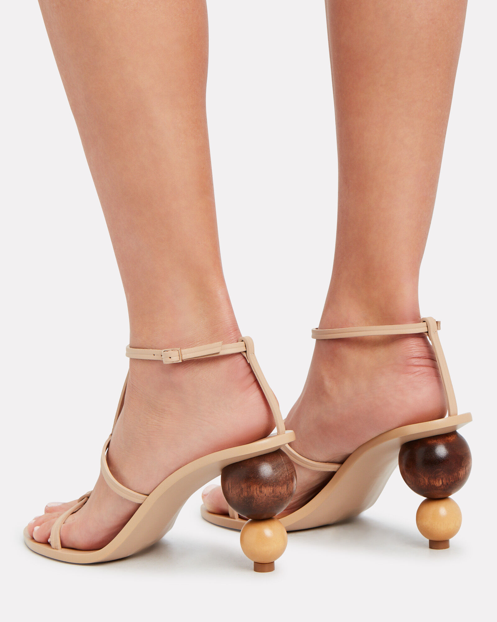 Eden Stacked Leather Sandals, BEIGE, hi-res