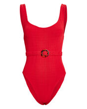 Solitaire One-Piece Swimsuit, RED, hi-res