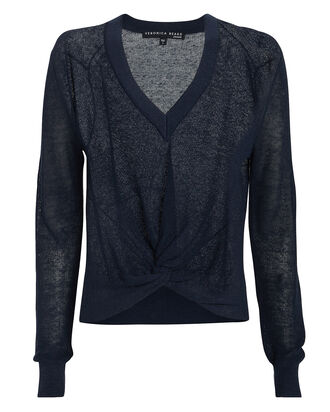 Soren Linen-Blend Knot Sweater, NAVY, hi-res