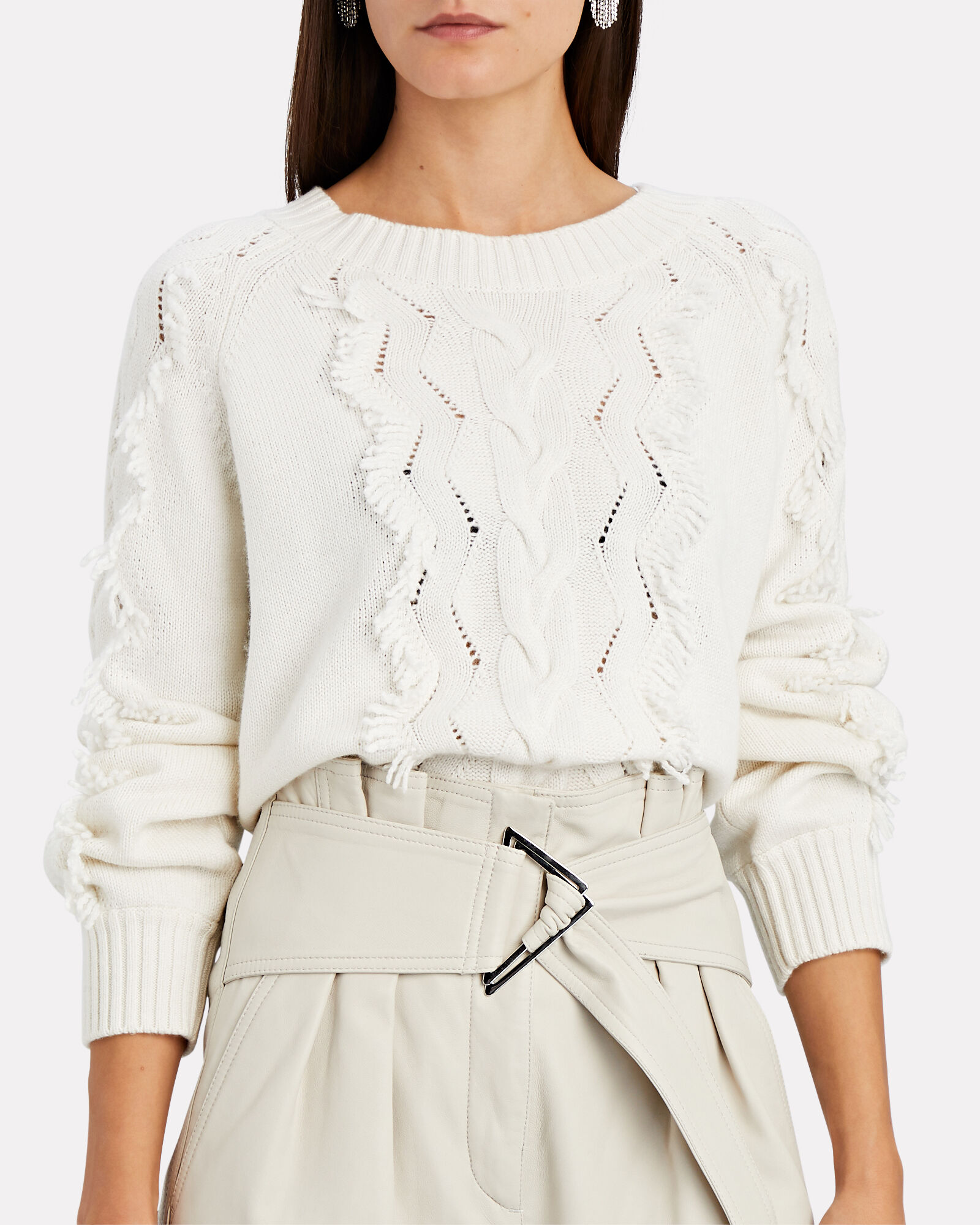 Francis Fringed Cable Knit Sweater, IVORY, hi-res