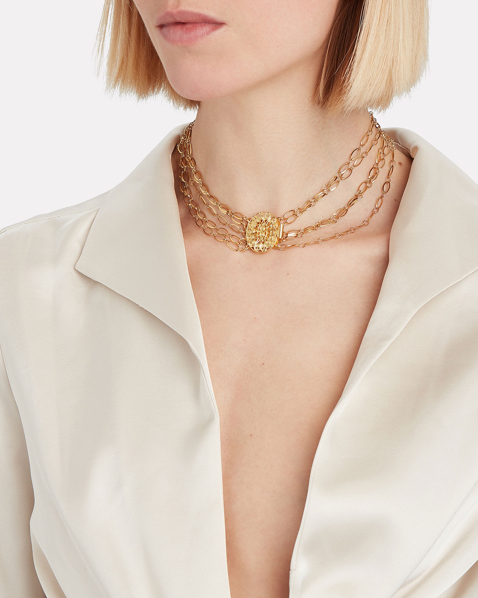 Layered Gold-Plated Chain Choker, GOLD, hi-res