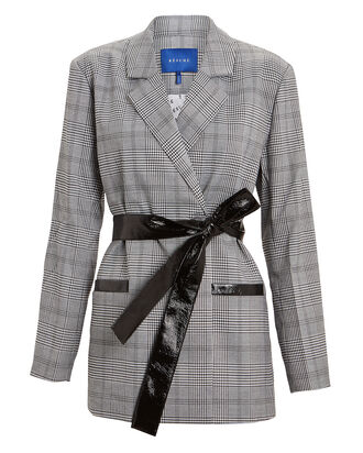 Priscilla Checked Wrap Blazer, GREY/PLAID, hi-res