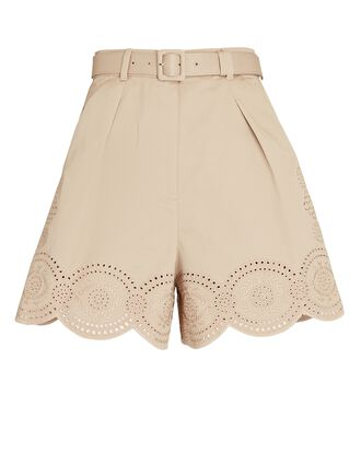 Embroidered High-Rise Shorts, BEIGE, hi-res