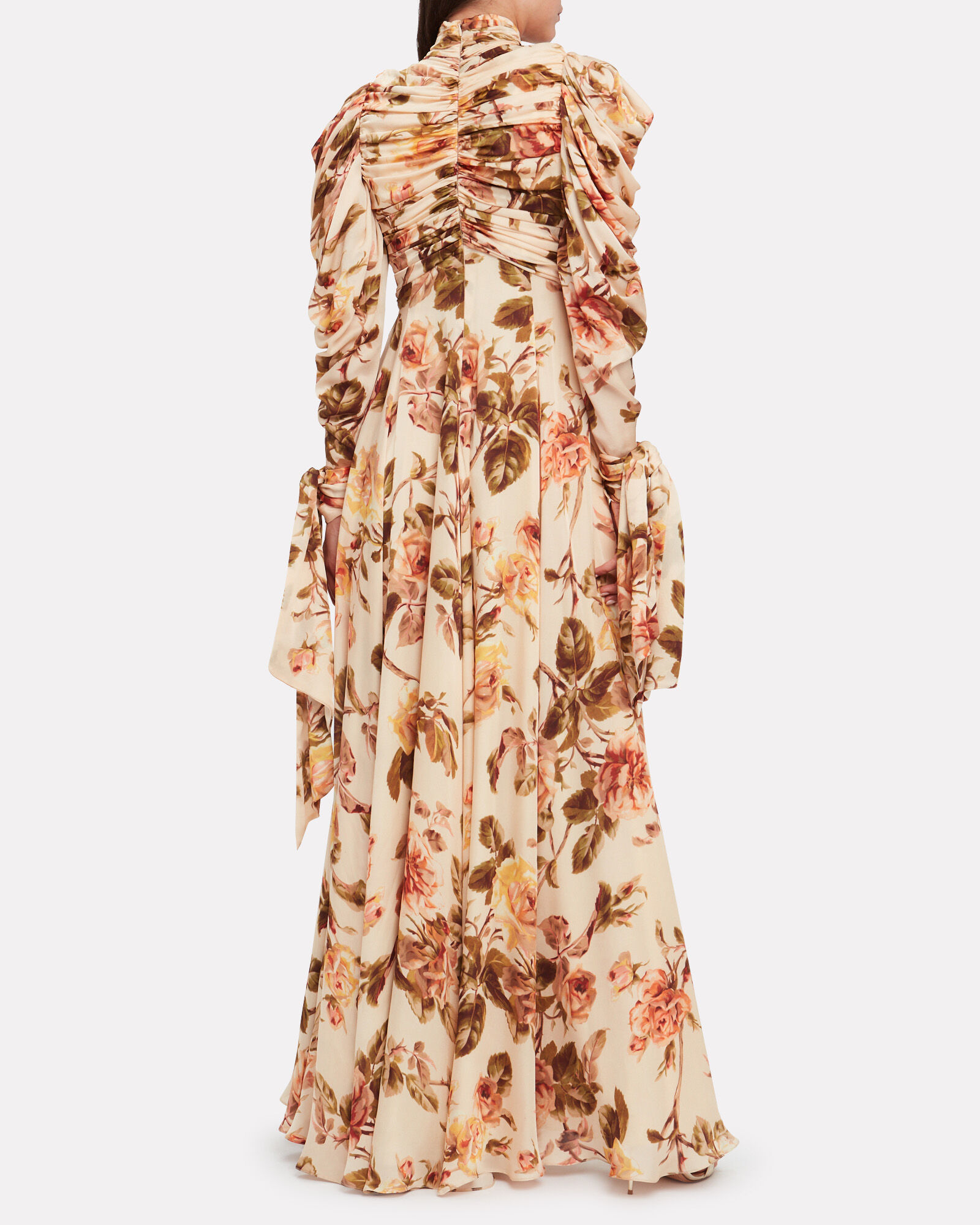 Resistance Ruched Silk Floral Dress, MULTI, hi-res