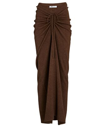Ruched Wool-Cashmere Maxi Skirt, BROWN, hi-res
