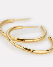 Crystal-Embellished Mini Hoop Earrings, GOLD, hi-res