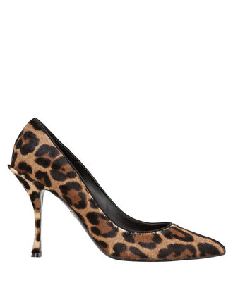 Decollete Leopard Calf Hair Pumps, BROWN, hi-res