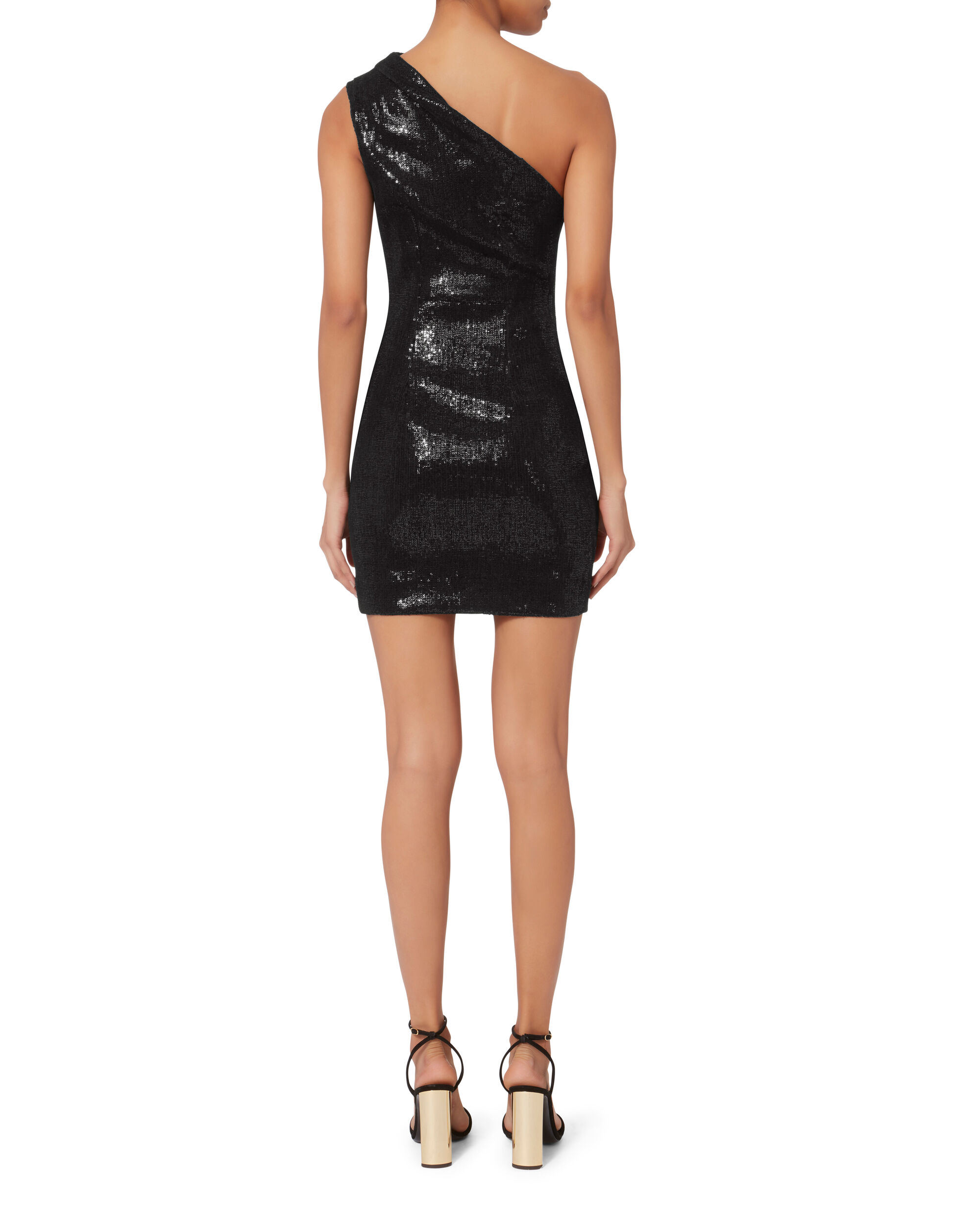 One Shoulder Sequin Dress, BLACK, hi-res
