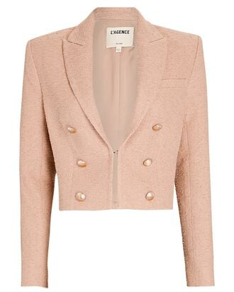 Inez Cropped Double-Breasted Blazer, BEIGE, hi-res