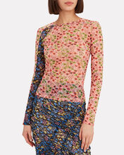 Floral Stretch Racing Top, PINK, hi-res