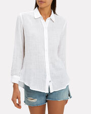 Sydney White Button Down Shirt, WHITE, hi-res