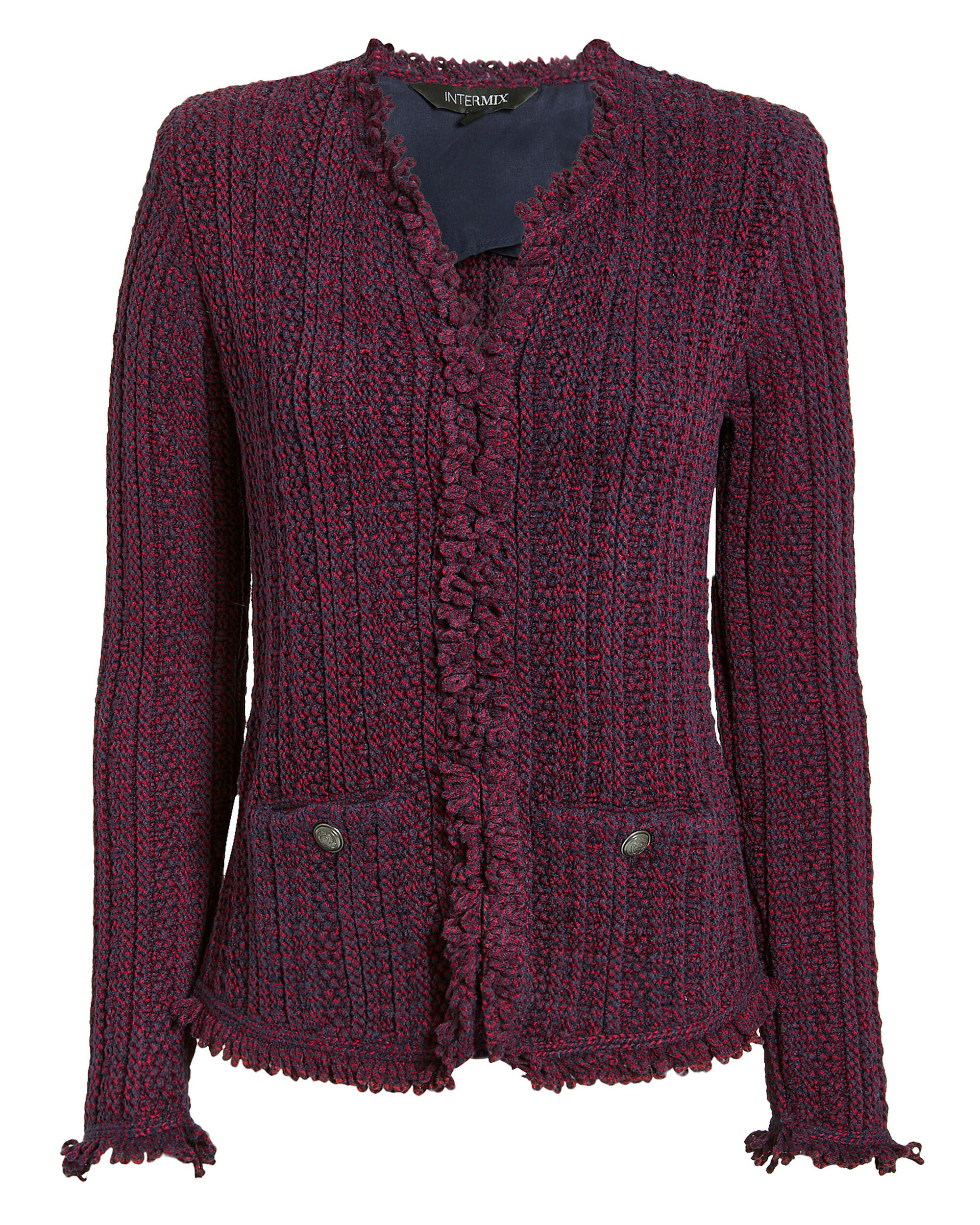 Ikaterina Two-Tone Knit Jacket, RED, hi-res