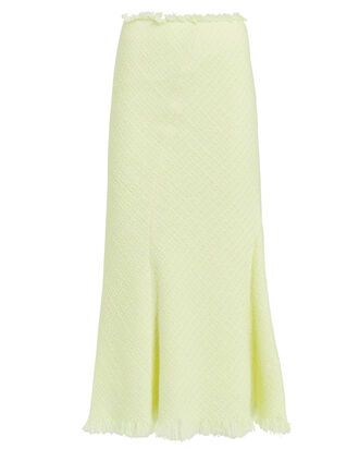Frayed Tweed Midi Skirt, NEON YELLOW, hi-res