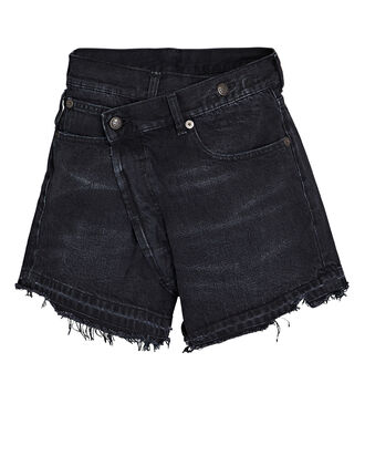 Crossover Distressed Denim Shorts, JAKE BLACK, hi-res