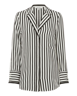 Striped Pajama Blouse, BLACK/WHITE, hi-res
