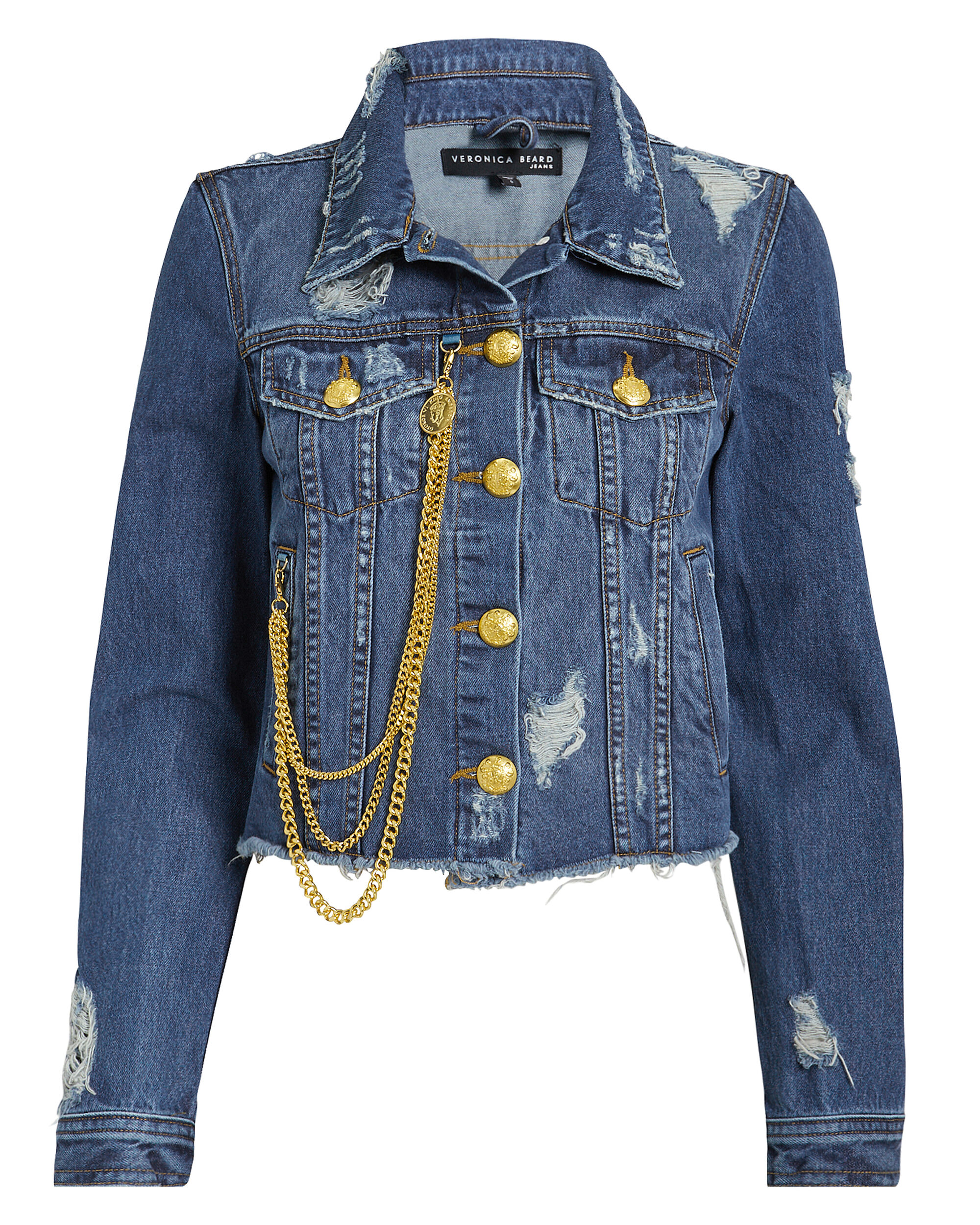 Cara Chain Detail Denim Jacket, MEDIUM BLUE DENIM, hi-res