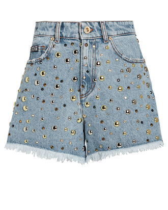 Studded Denim Cut-Off Shorts, BLUE-LT, hi-res