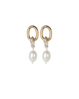 Two-Tone Twisted Pearl Hoops, GOLD/SILVER, hi-res