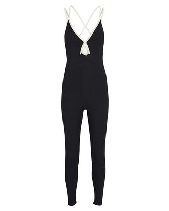 Verona Sleeveless Crossover Catsuit, BLACK, hi-res