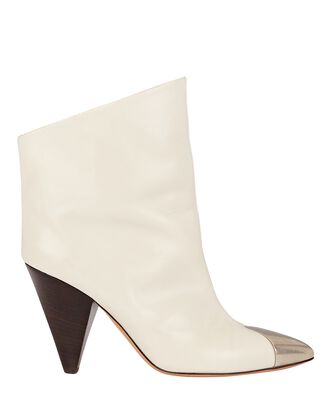 Lapio Leather Ankle Boots, IVORY, hi-res