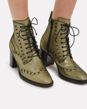 Hannah Lace-Up Booties, GOLD, hi-res