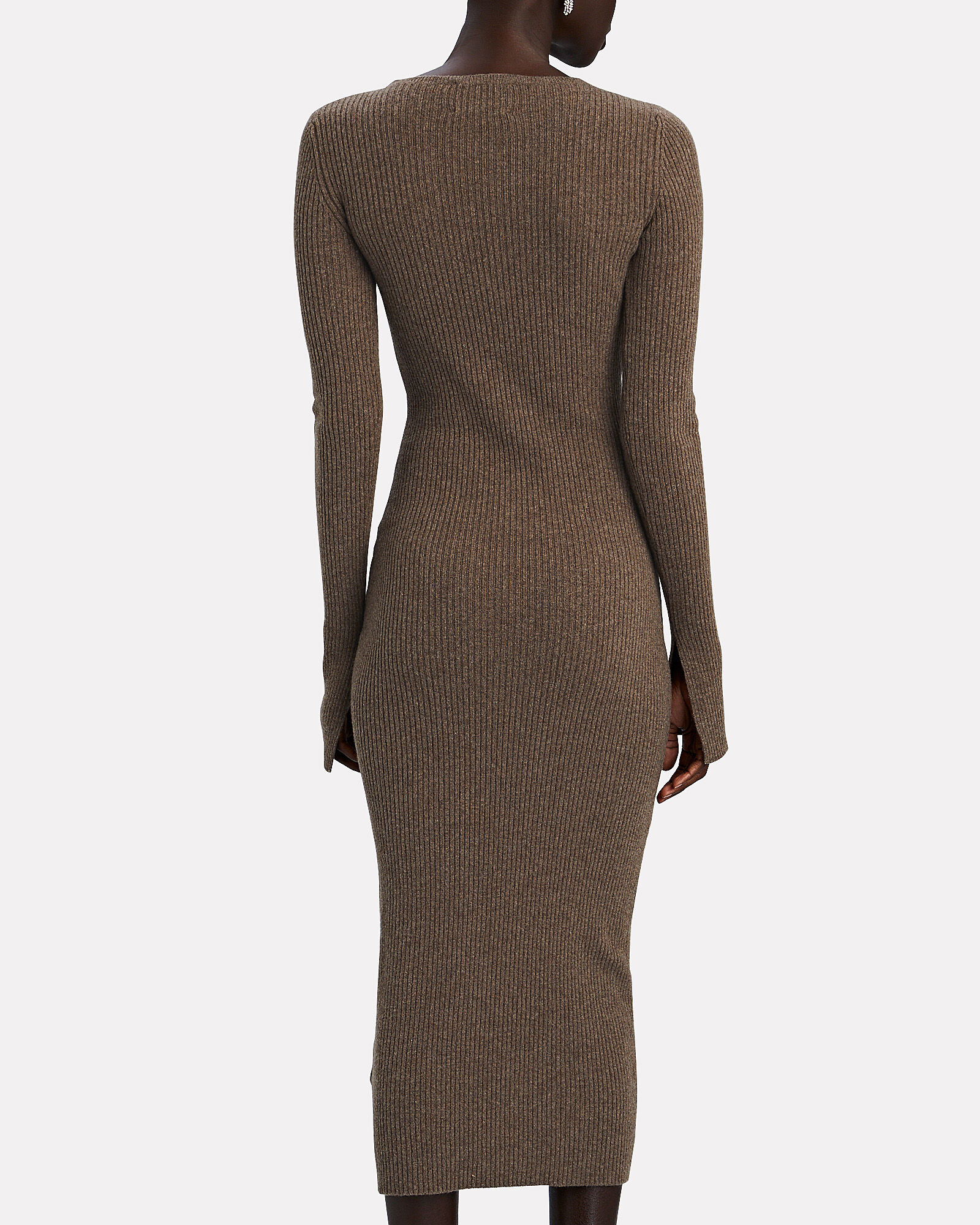 Etta Split Cuff Knit Midi Dress, BROWN, hi-res