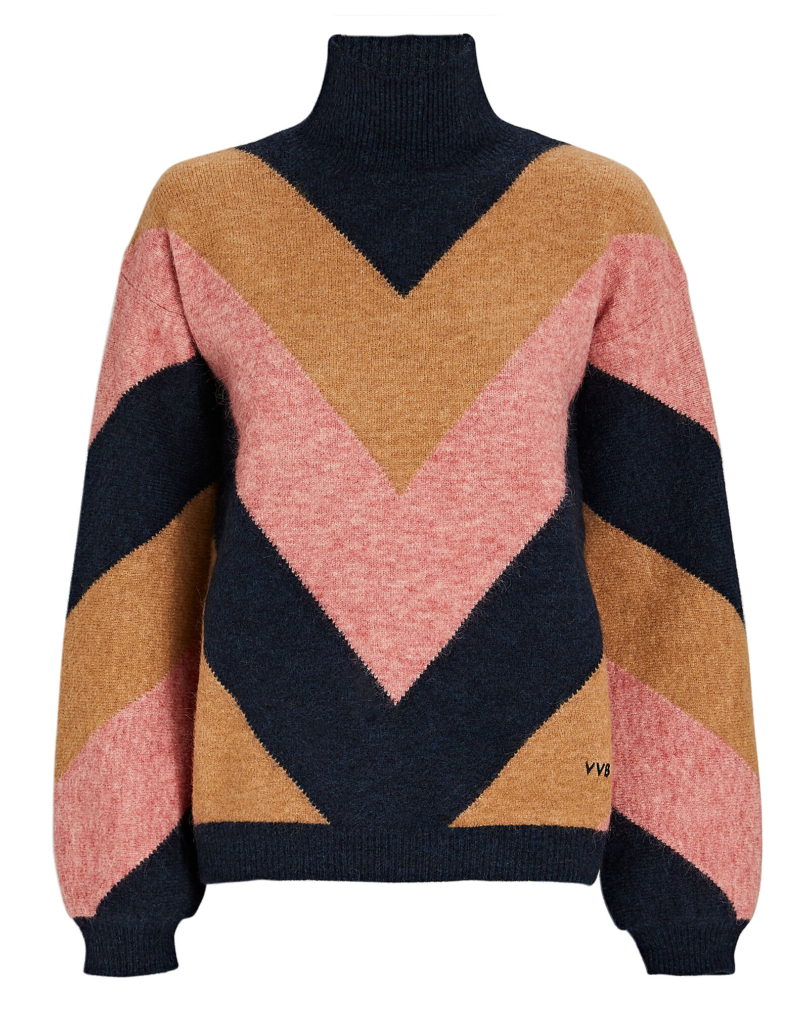 Oversized Chevron Turtleneck Sweater, BEIGE/PINK/BLACK, hi-res