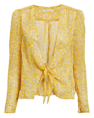 Ry Tie Front Top, YELLOW FLORAL, hi-res