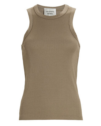 Car Knit Racer Tank Top, OLIVE, hi-res