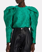 Oona Balloon Sleeve Blouse, GREEN, hi-res