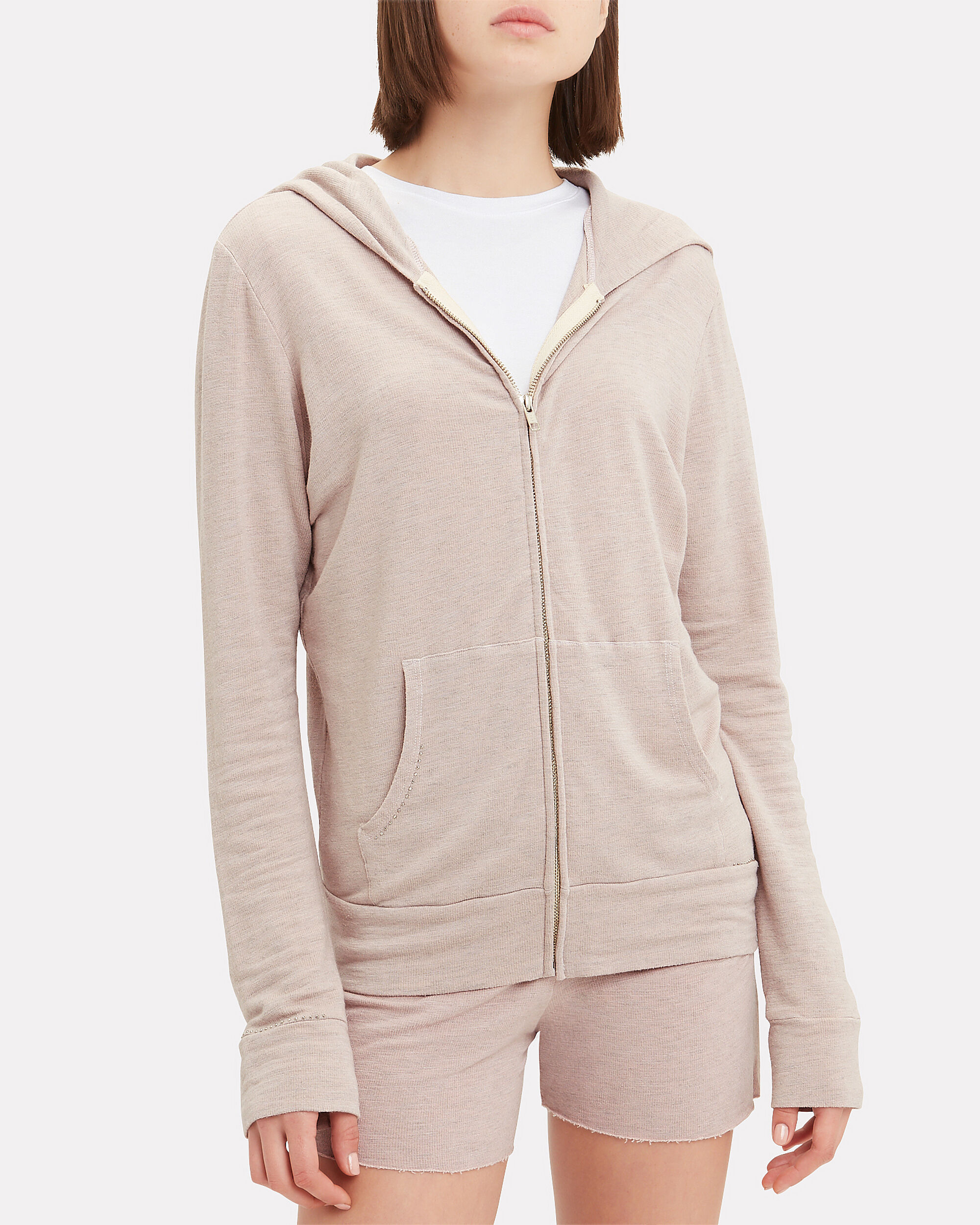 Supersoft Studded Hoodie, PINK, hi-res