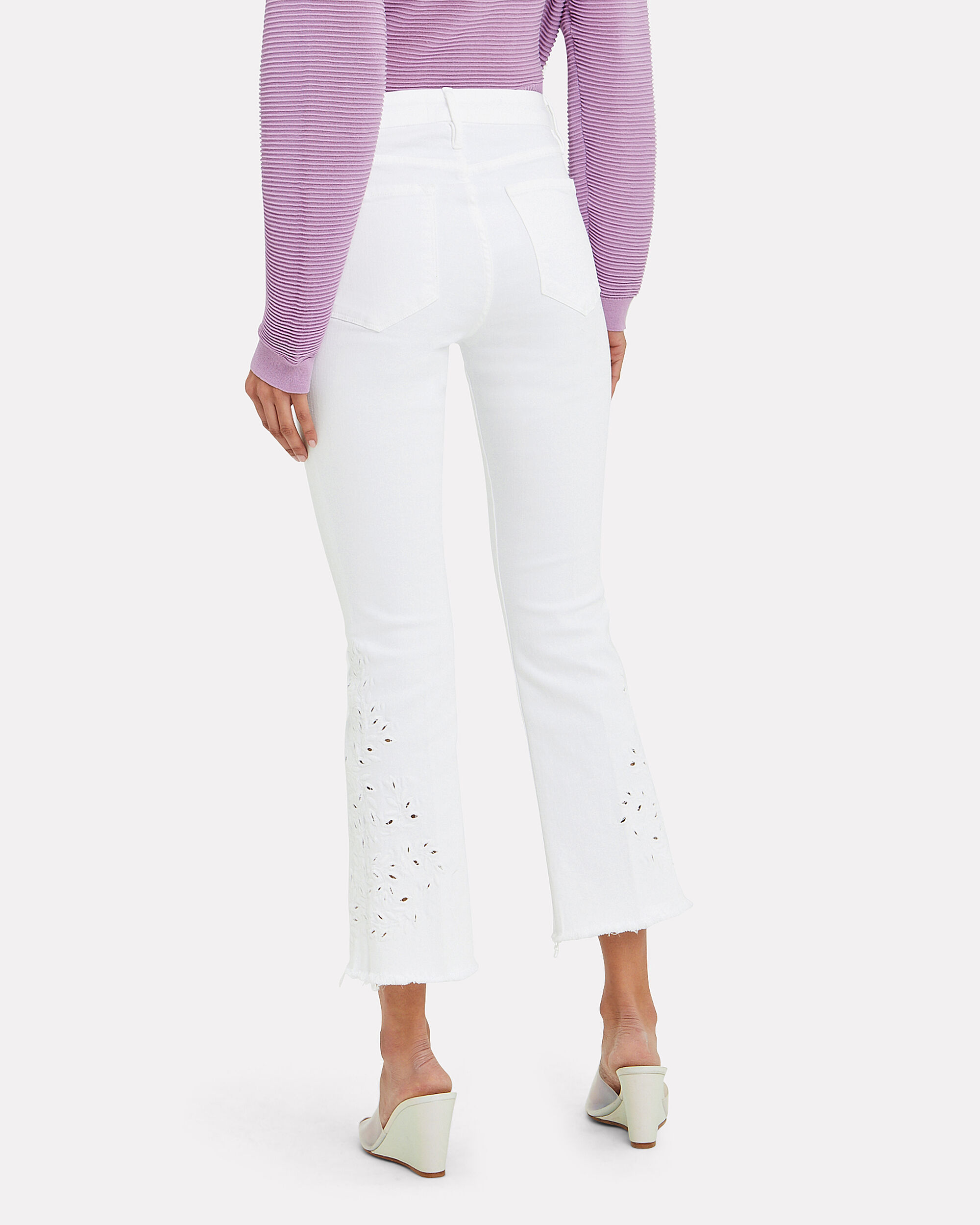 Le Mini Cropped Embroidered Jeans, WHITE DENIM, hi-res