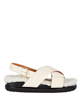 Fussbett Shearling-Trimmed Leather Sandals, WHITE, hi-res
