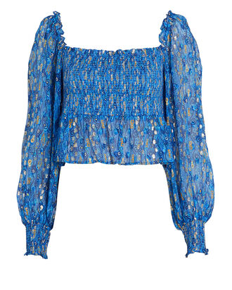 Eloise Smocked Lurex Top, BLUE-MED, hi-res