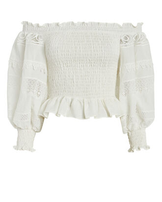 Morena Off-the-Shoulder Linen Top, WHITE, hi-res