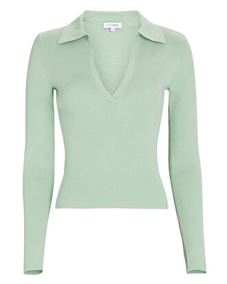 Nina Rib Knit Polo Top, LIGHT GREEN, hi-res