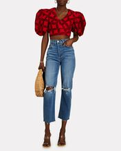 Hamilton Cropped Cotton Puff Sleeve Top, RED-DRK, hi-res
