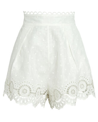 Bellitude Scalloped High-Waist Shorts, WHITE, hi-res