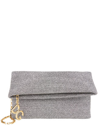 DG Girls Lurex Clutch, SILVER LUREX, hi-res